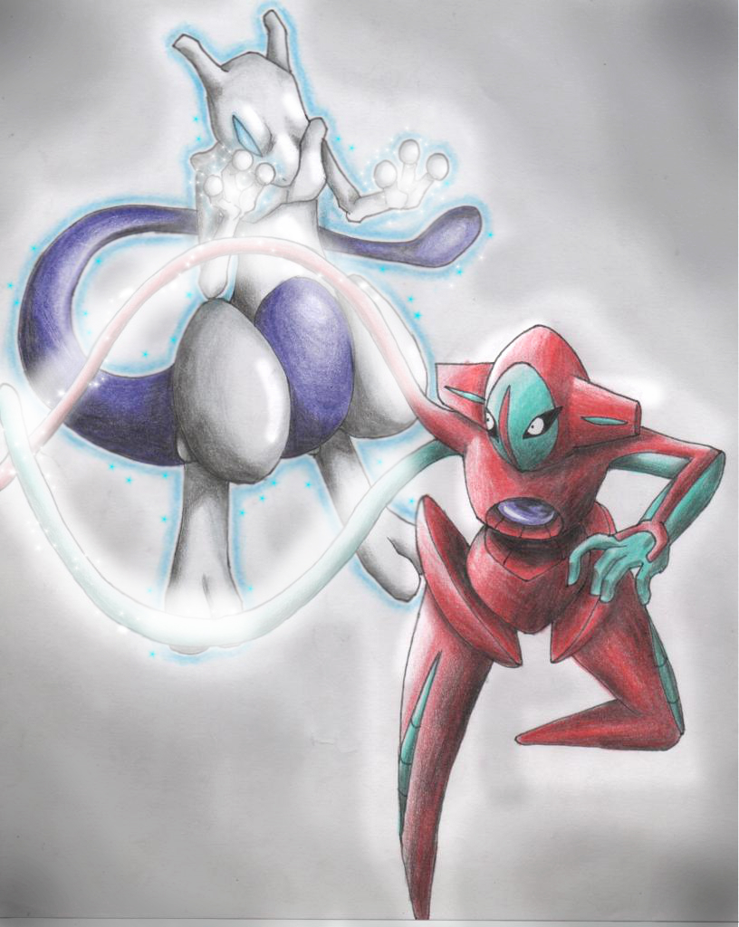 Mewtwo Vs Deoxys by RueMoon on deviantART