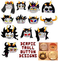 Derpie Troll Buttons by Blackshadowbutterfly