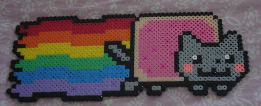 Nyan Cat Perler Bead by Blackshadowbutterfly