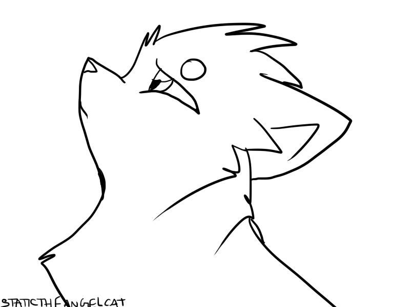 Warrior Cat Headshot Lineart