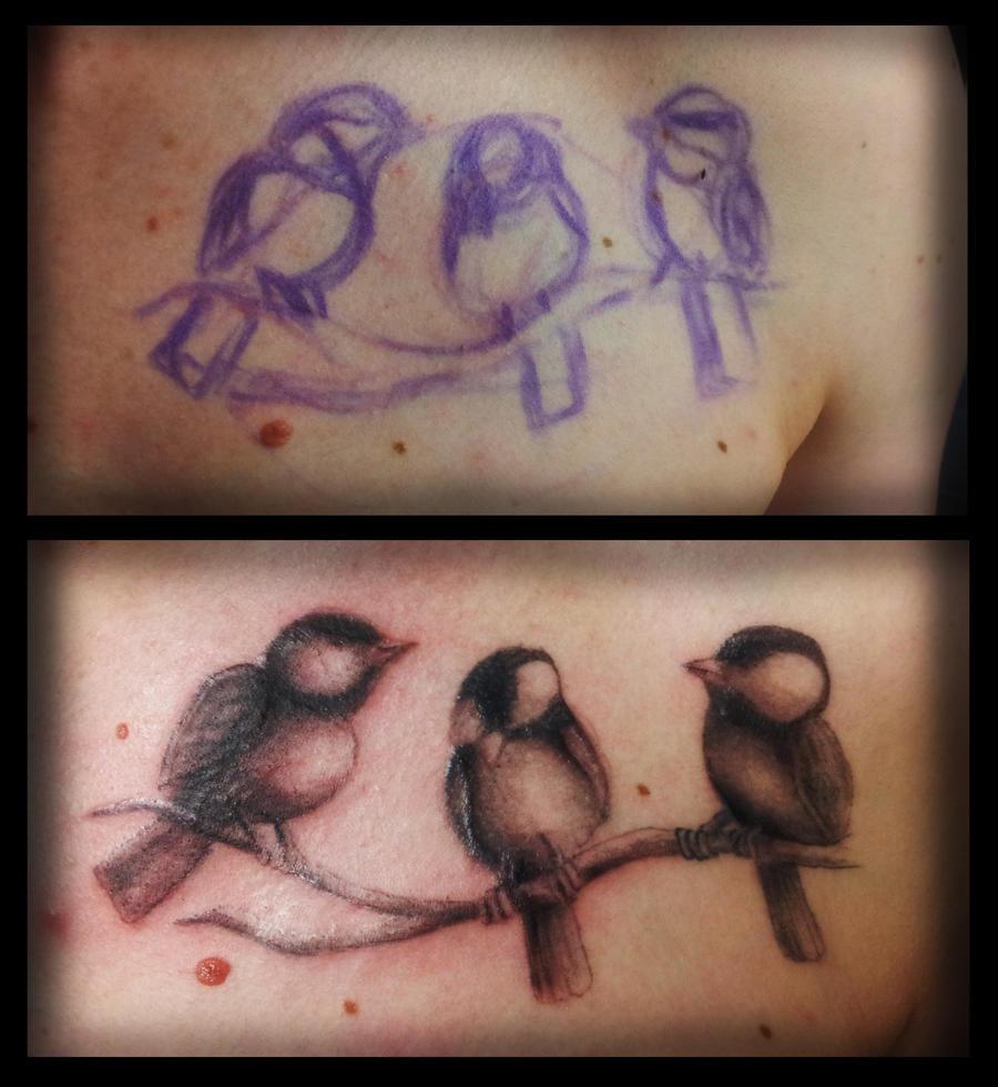 Freehand birds tattoo by ianinktattoo on deviantart for Three little birds tattoo