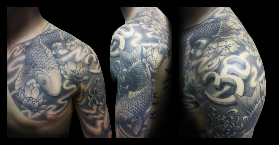 Koi Fish Chest Plate Tattoo Covering Scar: Japanese Koi Chest Plate And Half Sleeve By IanInkTattoo