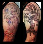 Freehand Fantasy Tree with Blossoms Tattoo