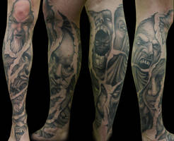 Award Winning Demon Leg Sleeve by IanInkTattoo