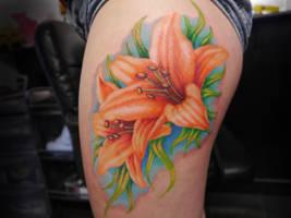 Bright Lillies Tattoo by IanInkTattoo