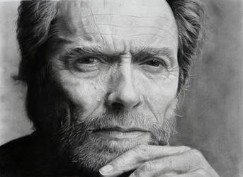 Clint Eastwood portrait (pencil drawing) by giacomoburattini