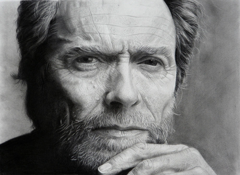 Clint eastwood portrait pencil drawing by giacomoburattini