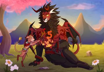 Racuni and Rakan by CatShnappira