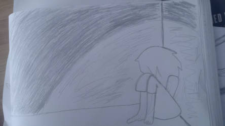 All alone and crying.
