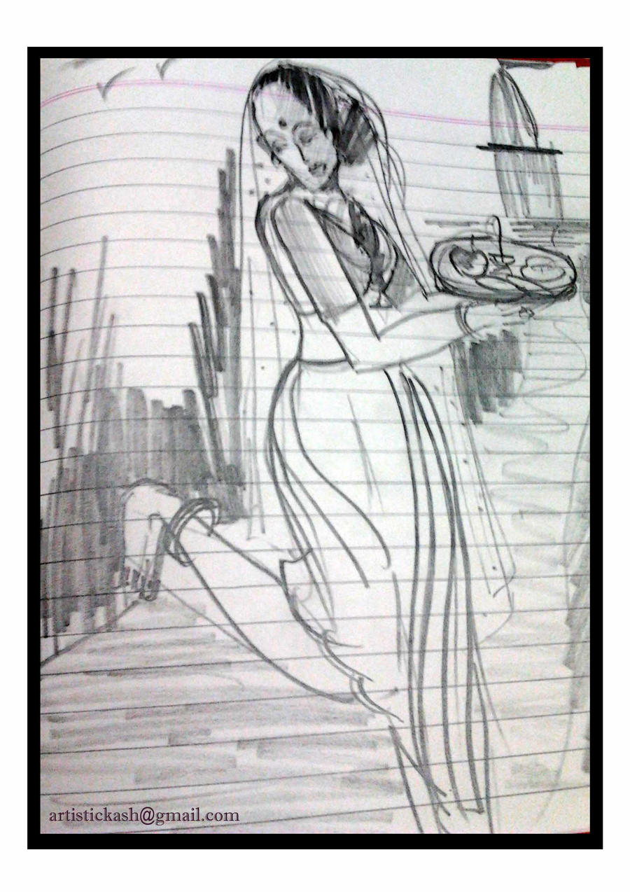 Pencil sketch lady going to temple by kashunutz on deviantart