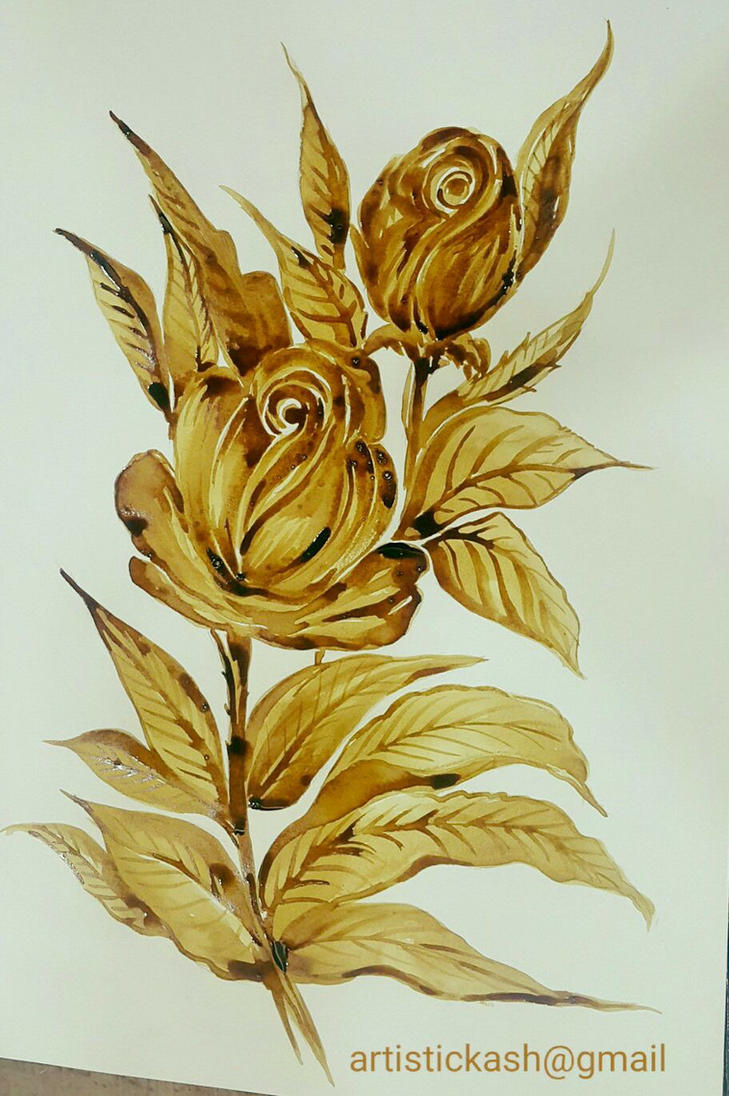 Coffee Painting - Rose by Kashmira Mehta Doshi by kashunutz