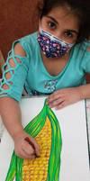 Yellow Corn -Oil Pastels by Meesha Mirwani