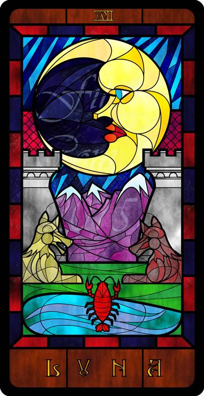 Stained Glass Tarot: The  Moon by FilXVII