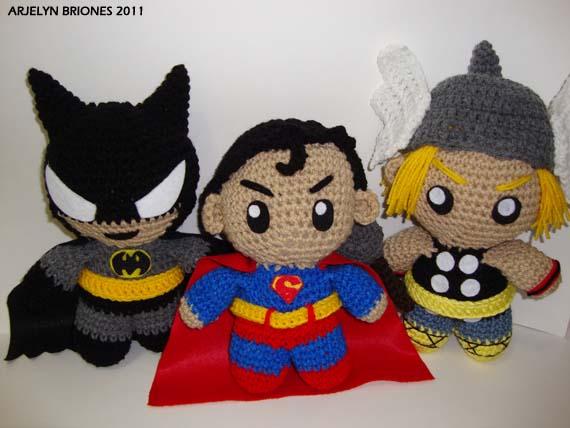 Knitting Pattern Superman Doll : Arjeloops Superman, Batman, and Thor Crochet Dolls by Arjeloops on DeviantArt