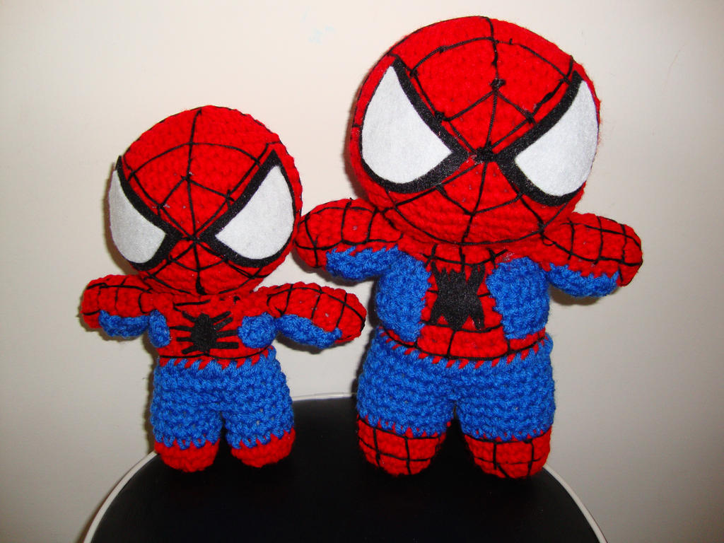 Free Spiderman Amigurumi Crochet Pattern : Arjeloops Spiderman and His Mini-Me Crochet Dolls by ...