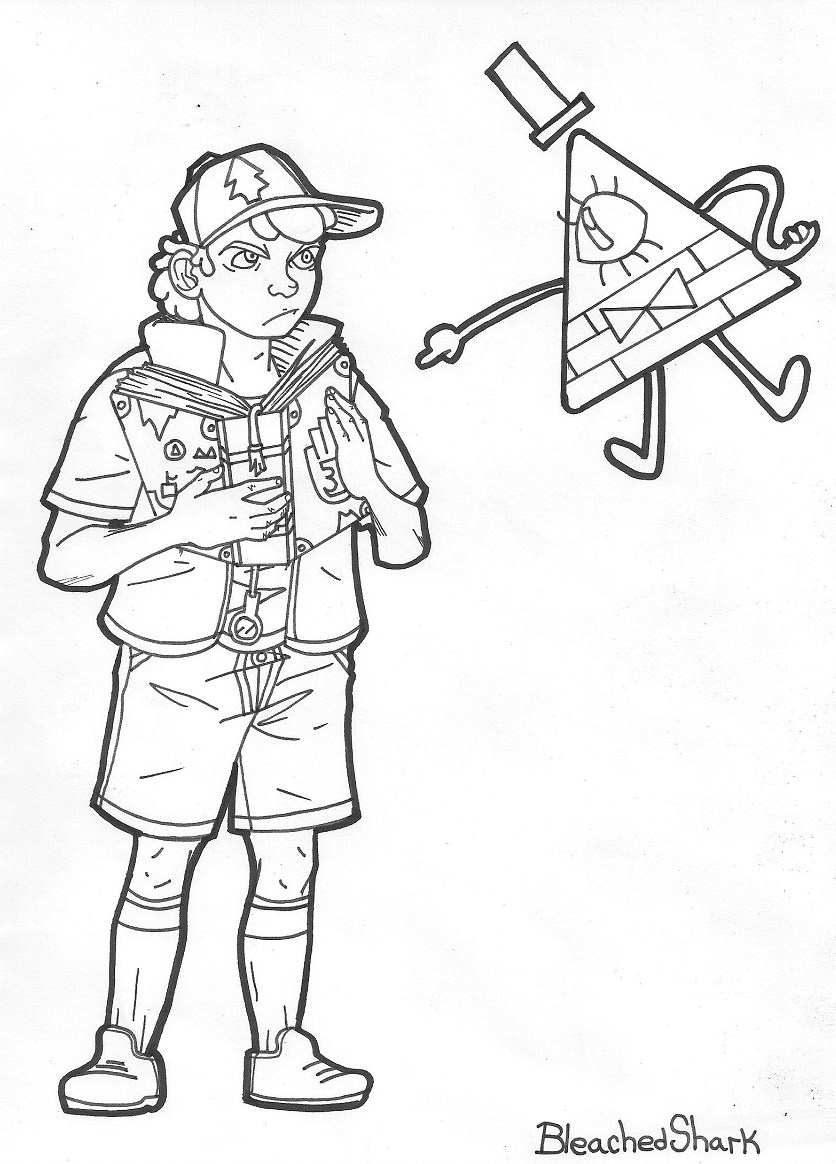 coloring pages of gravity falls - coloring page dipper and bill by akulashuvelle on deviantart