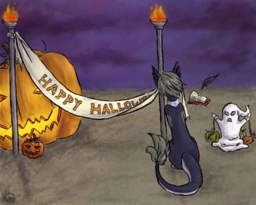 [Prompt 1] Midnight preparing for Halloween