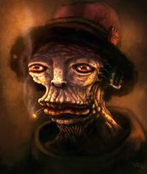 Smoking frog man