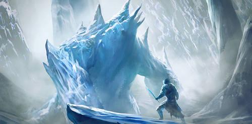 Ice golem encounter by Nahelus