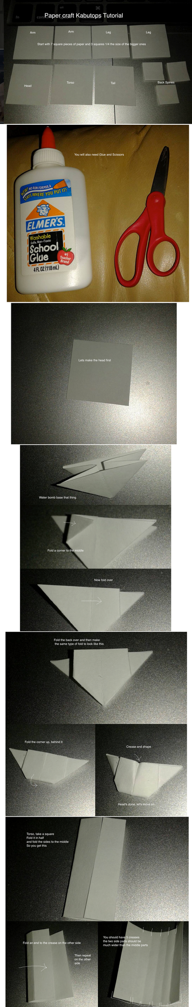 Papercraft Kabutops tutorial 1 by okamitsuki