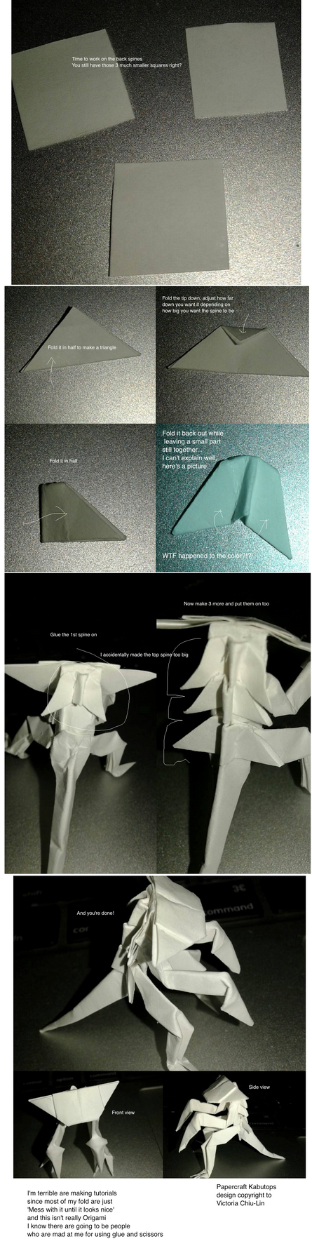 Papercraft Kabutops tutorial 4 by okamitsuki