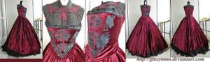 Burgundy 'Dark Rose' gothic dress