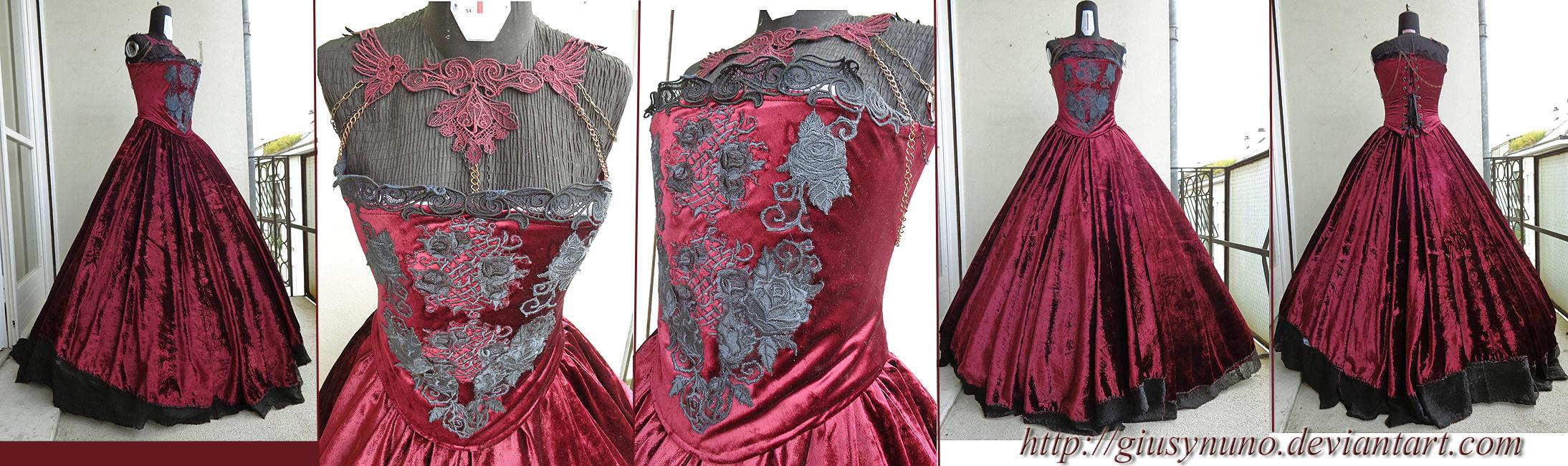 Burgundy 'Dark Rose' gothic dress by giusynuno