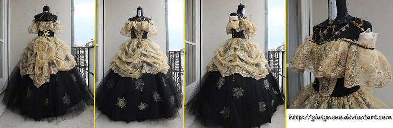 Original Mid '800 inspired black and gold ballgown