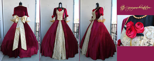 Belle's burgundy ballgown - Beauty and the Beast by giusynuno