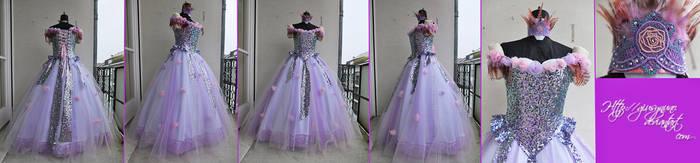 Feathery Floral Maiden original fantasy ballgown