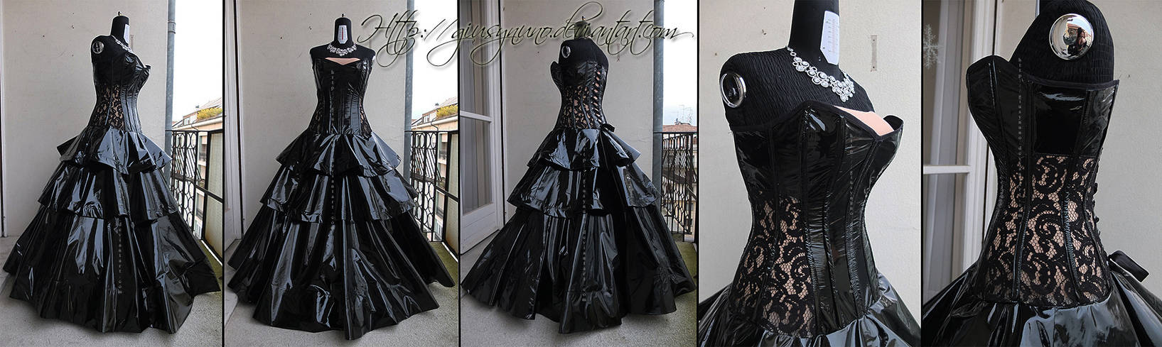 Latex and lace ballgown