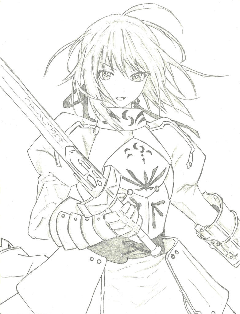 Line Art Zero : Fate zero saber by dmage on deviantart