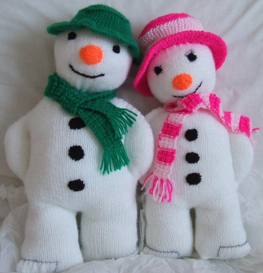 Hand Knitted Snowman and Snowgirl by aes123 on DeviantArt
