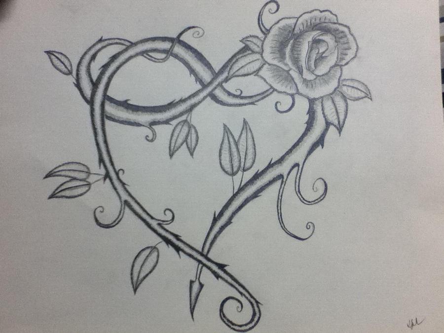 vine heart tattoo sketch by krowsnest on deviantart. Black Bedroom Furniture Sets. Home Design Ideas