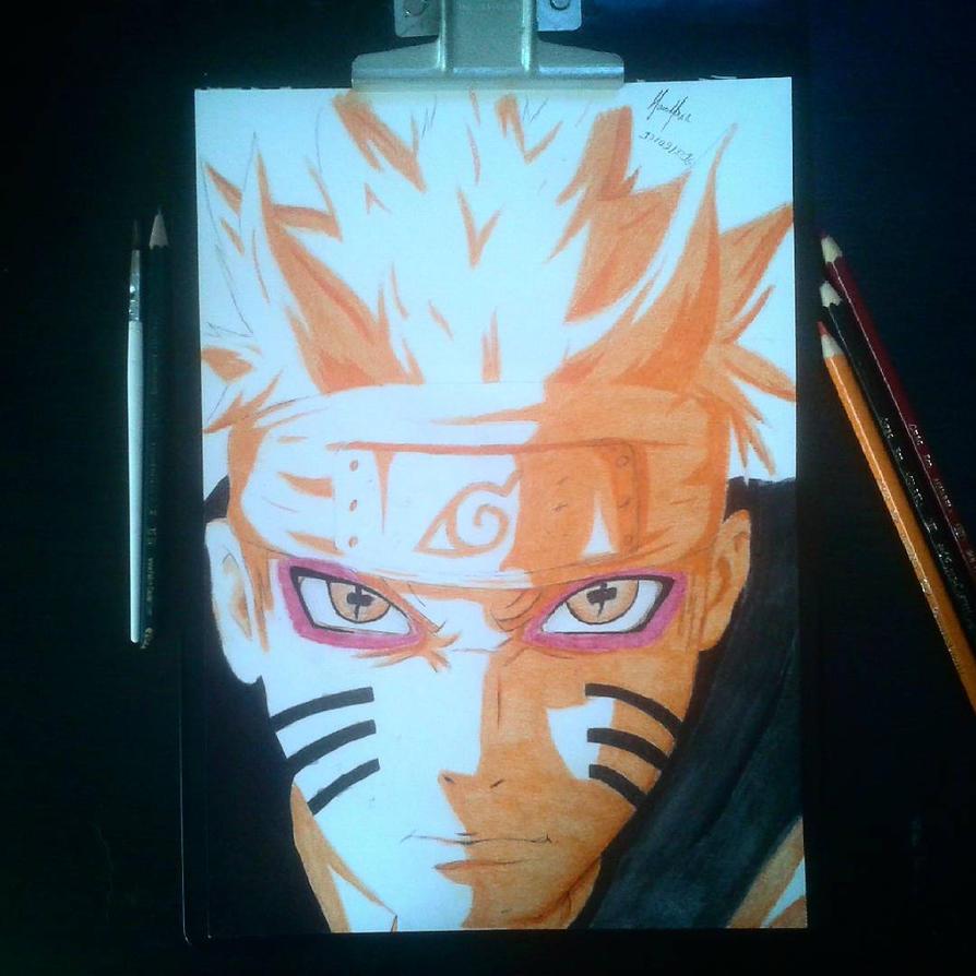 Naruto Uzumaki with color pencil by marcioliver