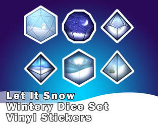 Let It Snow! | Wintery Polyhedral Dice Sticker Set