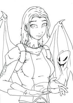 Dragon-Girl-BW