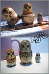 Owl-matrioshkas (Pyrography and watercolor)