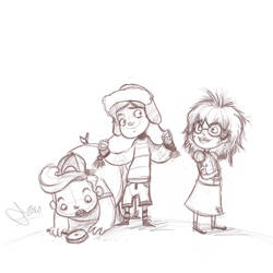 Spud, Angus and Poppy by vimfuego