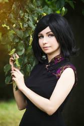 Girl in black cheongsam by Marusera-Yumeart