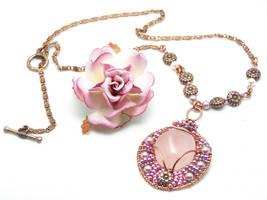 Rose quartz copper pendant by CreativityJewellery