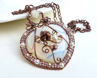 Rose and white heart wire wrapped copper necklace by CreativityJewellery
