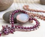 Moonstone garnet heart pendant