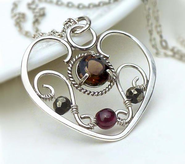 Smoky quartz wire wrapped heart necklace by CreativityJewellery on ...