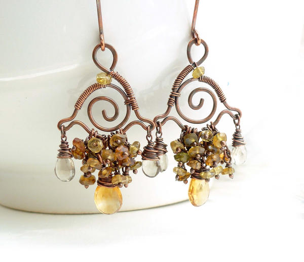 Citrine chandelier earrings wire wrapped copper by citrine chandelier earrings wire wrapped copper by creativityjewellery mozeypictures Gallery