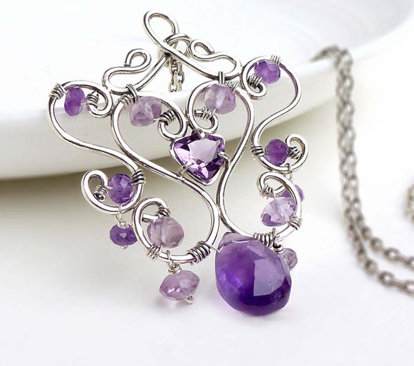 Sterling Silver Wire Wrapped Amethyst Necklace By