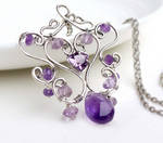 Sterling silver wire wrapped amethyst necklace
