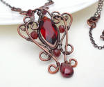 Dark red gothic necklace wire wrapped copper