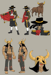 Sheriff and Bull - Gun Trick - Concept by SphinxScribble