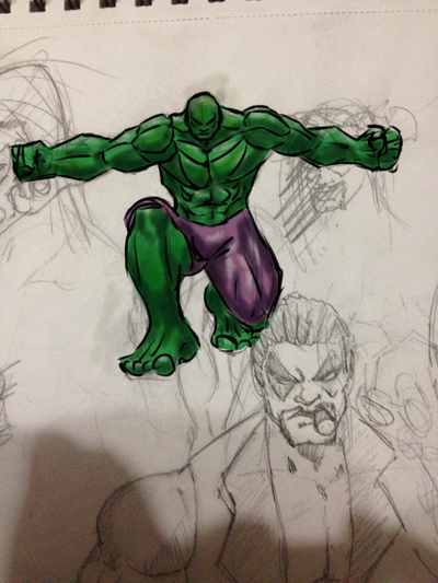 Hulk quick sketch by AlphaD16